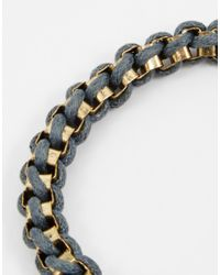 ASOS - Black Metal And Rope Bracelet for Men - Lyst