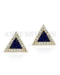 Anne Sisteron - Black 14kt Yellow Gold Lapis Lazuli Diamond Triangle Stud Earrings - Lyst