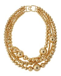 Kenneth Jay Lane | Metallic Multi-strand Golden Bead Necklace | Lyst