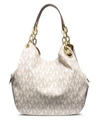 MICHAEL Michael Kors | White Fulton Signature Large Shoulder Tote | Lyst