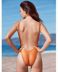Free People - Metallic Copper High Cut One Piece - Lyst