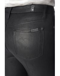 7 For All Mankind High Waist Ankle Skinny In Leather-like Black