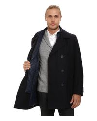 Marc New York - Blue Mulberry Pressed Wool Peacoat W/ Removable Quilted Bib for Men - Lyst