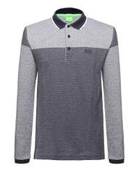 BOSS Green - Black 'pleesy' | Slim Fit, Stretch Cotton Mesh Polo for Men - Lyst