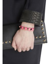 Valentino - Rockstud Mini Pink Leather Bracelet - Lyst
