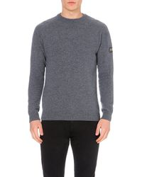 Barbour | Gray Logo-patch Wool Jumper for Men | Lyst