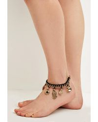 Forever 21 - Metallic Etched Charm Anklet - Lyst