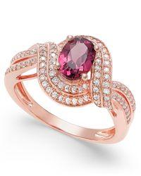 Macy's - Metallic Rhodolite Garnet (1 Ct. T.w.) And Diamond (1/3 Ct. T.w.) Twist Ring In 14k Rose Gold - Lyst