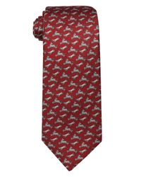Hermès - Red And Grey Farm Animal Print Silk Tie for Men - Lyst