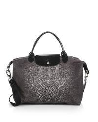 Longchamp - Black Le Pliage Neo Medium Stingrayprint Satchel - Lyst