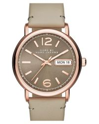 Marc Jacobs - Gray 'fergus' Leather Strap Watch - Lyst
