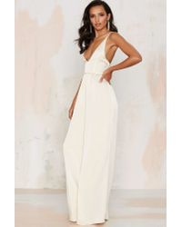Nasty Gal | Natural Dakota Diamante Jumpsuit | Lyst