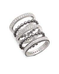 Freida Rothman - Metallic Sparkle Stack Ring Set - Lyst