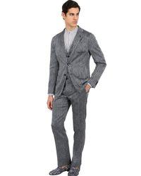 Giorgio Armani | Blue Stretch Silk Seersucker Chevron Jacket for Men | Lyst