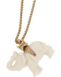 Kenneth Jay Lane - Metallic Goldplated Resin Elephant Necklace - Lyst