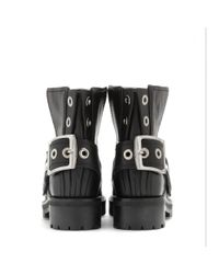 Alexander McQueen - Black Leather Ankle Boots - Lyst