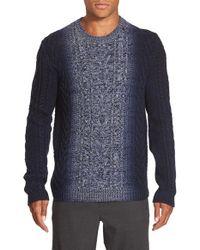 Vince - Blue Marled Degrade Wool & Cashmere Crewneck Sweater for Men - Lyst