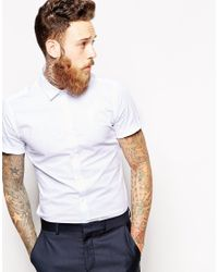 ASOS - White Smart Shirt In Short Sleeve With Stretch for Men - Lyst