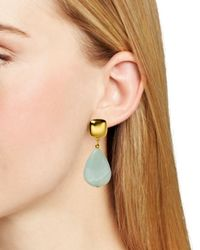 Kenneth Jay Lane | Metallic Flat Teardrop Earrings | Lyst
