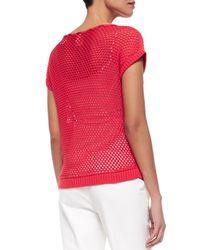 Lafayette 148 New York - Red Eyelet Stitch Short-sleeve Sweater - Lyst