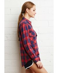 Forever 21 - Blue Classic Plaid Shirt - Lyst