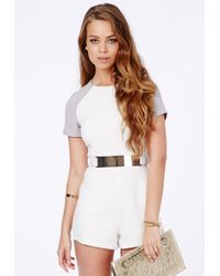 Missguided - White Julieta Contrast Sleeve Belted Playsuit - Lyst