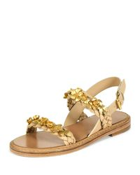 Valentino - Metallic Embellished Braided-Leather Sandals  - Lyst