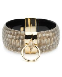 Alexis Bittar - Metallic Croc Ring Hinge Bracelet - Lyst