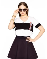 Kate Spade | Black Sunglasses Jersey Pocket Tee | Lyst