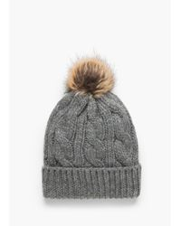 Mango - Gray Pompon Cable-knit Beanie - Lyst