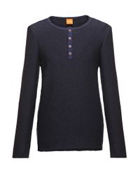 BOSS Orange | Blue Cotton Knit Shirt 'kale' for Men | Lyst