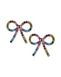 Betsey Johnson - Metallic Silvertone Crystal Bow Stud Earrings - Lyst