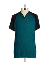 Guess | Green Raglan Sleeved Tee for Men | Lyst