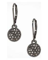 Express | Metallic Mini Pave Disc Drop Earrings | Lyst