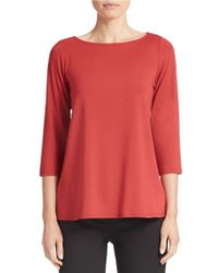 Eileen Fisher | Red Bateau-neck Top | Lyst
