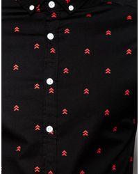 ASOS - Black Skinny Shirt With Arrow Print In Long Sleeve for Men - Lyst