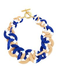 Tory Burch | Blue Resin Link Necklace | Lyst