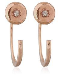 Melissa Joy Manning - Pink Rose Gold White Diamond Hug Earrings - Lyst