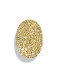 David Yurman - Metallic Cable Coil Ring With Diamonds In Gold - Lyst