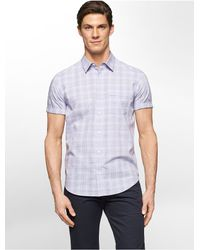 Calvin Klein | Purple White Label Classic Fit Faded Grid Plaid Short Sleeve Shirt for Men | Lyst