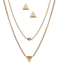 Lucky Brand | Metallic Pyramid Stud Earrings And Layered Necklace Set | Lyst