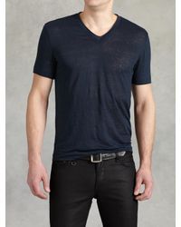 John Varvatos | Blue Linen V-neck for Men | Lyst