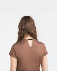 Zara | Brown Jewel Applique T-shirt | Lyst