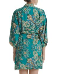 In Bloom - Green Patterned Satin Robe - Lyst