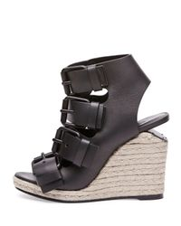 Alexander Wang - Black Jo Buckled Wedge Sandals - Lyst
