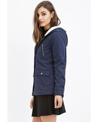 Forever 21 | Blue Hooded Plush Jacket | Lyst
