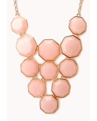 Forever 21 - Pink Geo Girl Faux Stone Necklace - Lyst