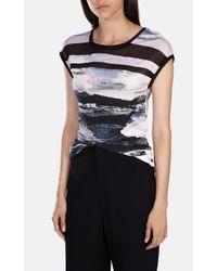 Karen Millen | Multicolor Print And Sheer T-shirt | Lyst
