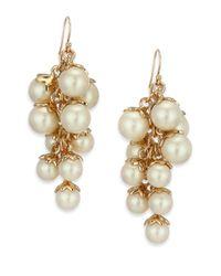 Kate Spade | Metallic Petaled Faux Pearl Chandelier Earrings | Lyst