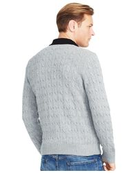 Polo Ralph Lauren - Gray Big And Tall Cable-knit Tussah Silk Sweater for Men - Lyst